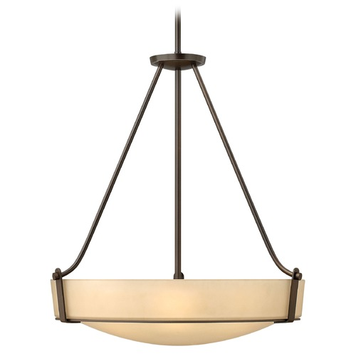 Hinkley Lighting Modern Pendant Light with Amber Glass in Olde Bronze Finish 3224OB