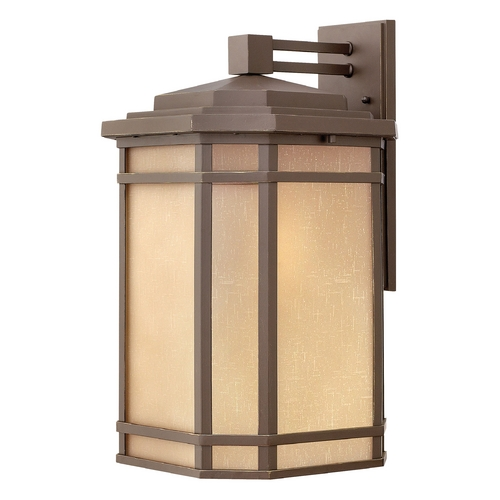 Hinkley Lighting Outdoor Wall Light with Amber Glass in Oil Rubbed Bronze Finish 1275OZ-GU24