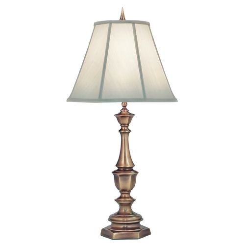 Stiffel Lighting Stiffel Table Lamp with White Shade in Antique Brass Finish TL-K6165-K9043-AB