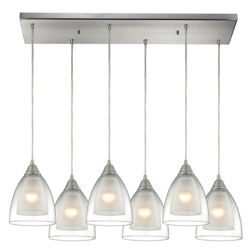 Elk Lighting Elk Lighting Layers Satin Nickel Multi-Light Pendant with Bowl / Dome Shade 10464/6RC