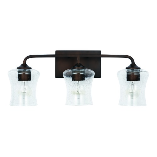 HomePlace by Capital Lighting HomePlace Reeves Bronze 3-Light Bathroom Light with Clear Seeded Glass 139231BZ-499