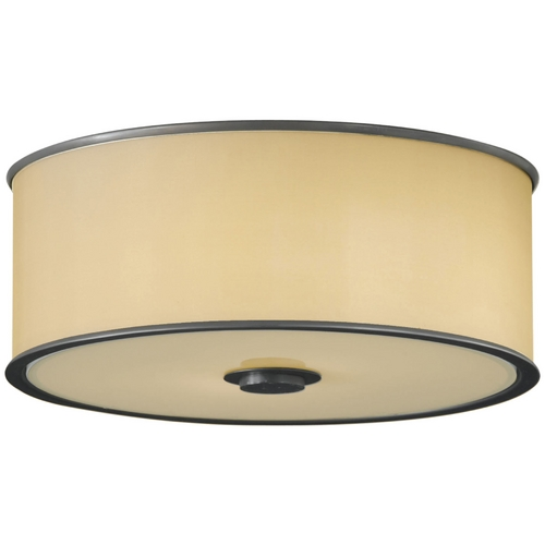 Feiss Lighting Flushmount Light with Brown Shades in Dark Bronze Finish FM291DBZ