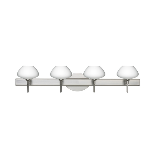 Besa Lighting Modern Bathroom Light with White Glass in Satin Nickel Finish 4SW-541007-SN