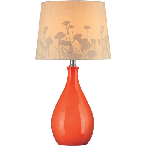 Lite Source Lighting Lite Source Lighting Edaline Orange Table Lamp with Drum Shade LS-21489ORN