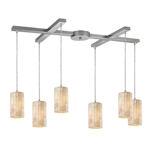 Elk Lighting Multi-Light Pendant Light with Beige / Cream Shades and 6-Lights 10147/6