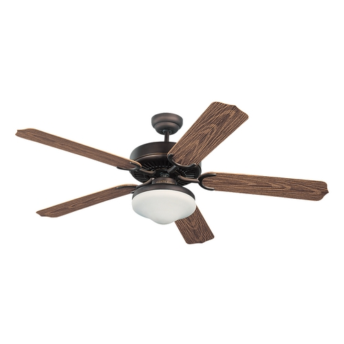 Monte Carlo Fans Ceiling Fan with Light with White Glass in Roman Bronze / Matte Opal Finish 5WF52RBD-L
