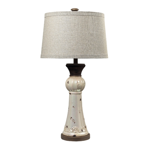 Dimond Lighting Table Lamp with Grey Shade in Distressed Pearlescent with Rust Finish 113-1127