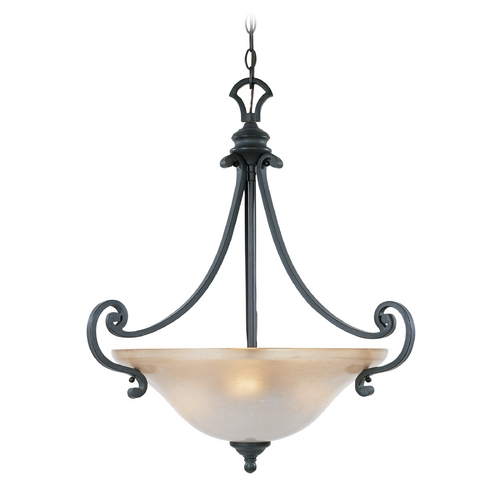 Designers Fountain Lighting Pendant Light with Beige / Cream Glass in Natural Iron Finish 96131-NI