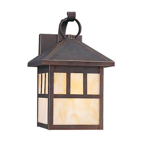 Sea Gull Lighting Outdoor Wall Light with Beige / Cream Glass in Antique Bronze Finish 8508-71