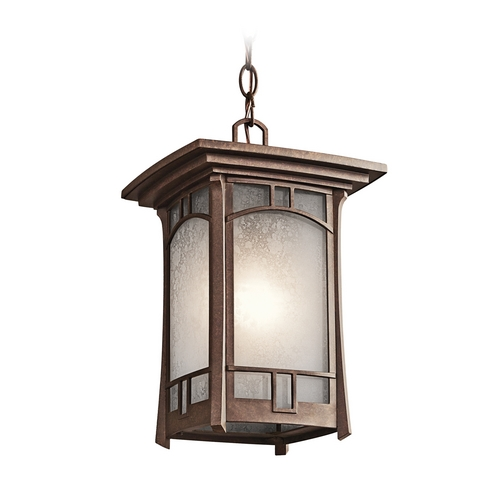 Kichler Lighting Kichler Outdoor Hanging Light with White Mica Shade in Bronze Finish 49452AGZ