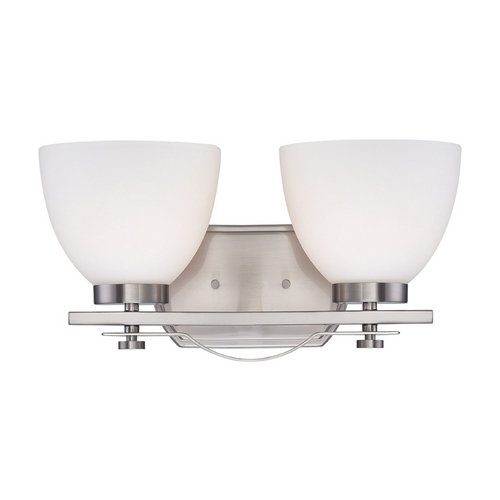 Nuvo Lighting Bathroom Light with White Glass in Brushed Nickel Finish 60/5012