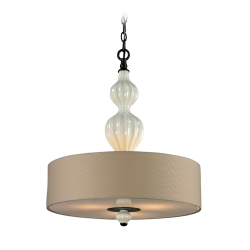 Elk Lighting Drum Pendant Light with White Shades in Aged Bronze Finish 31372/3-LA