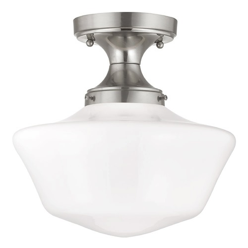Design Classics Lighting 12-Inch Schoolhouse Ceiling Light in Satin Nickel Finish FDS-09 / GA12