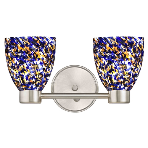 Design Classics Lighting Aon Fuse Art Glass Satin Nickel Bathroom Light with Bell Glass 1802-09 GL1009MB