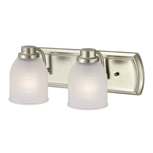 Design Classics Lighting 2-Light Vanity Light with Frosted Prismatic Glass in Satin Nickel Finish 1202-09 GL1058-FF