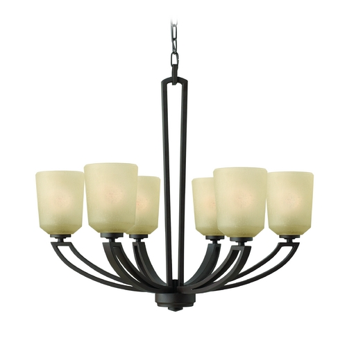 Hinkley Lighting Chandelier with Amber Glass in Buckeye Bronze Finish 4436KZ
