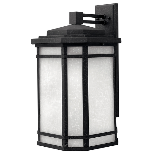 Hinkley Lighting Outdoor Wall Light with White Glass in Vintage Black Finish 1275VK-GU24