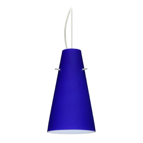 Besa Lighting Besa Lighting Cierro Satin Nickel LED Mini-Pendant Light with Conical Shade 1KX-4124CM-LED-SN