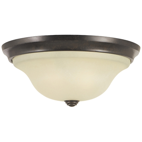 Home Solutions by Feiss Lighting Flushmount Light with Beige / Cream Glass in Grecian Bronze Finish FM251GBZ