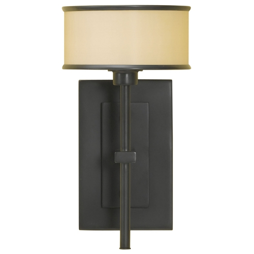 Feiss Lighting Sconce Wall Light with Brown Shade in Dark Bronze Finish WB1378DBZ