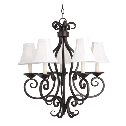 Maxim Lighting Chandelier with White Shades in Oil Rubbed Bronze Finish 12215OI/SHD123