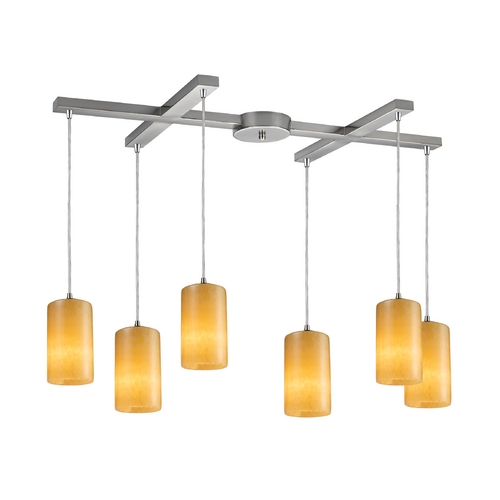 Elk Lighting Modern Multi-Light Pendant Light with Orange Shades and 6-Lights 10169/6