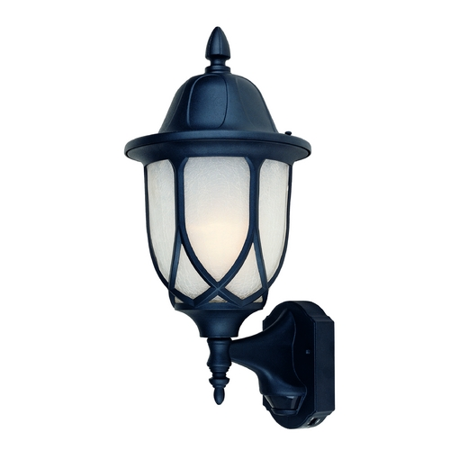 Designers Fountain Lighting Outdoor Wall Light with White Glass in Black Finish 2868MD-BK