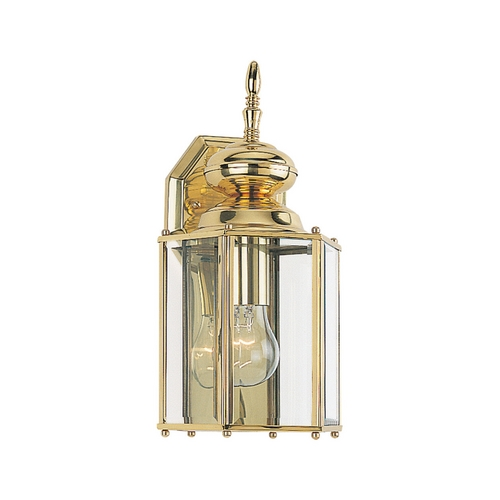 Sea Gull Lighting Outdoor Wall Light with Clear Glass in Polished Brass Finish 8509-02