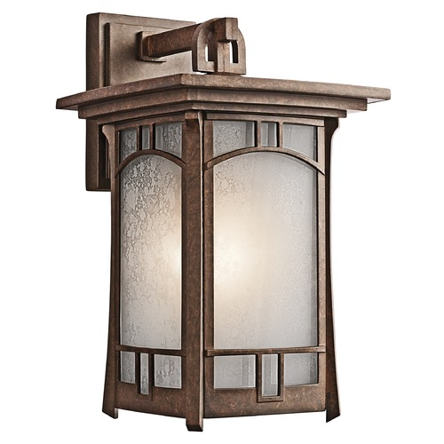 Kichler Lighting Kichler Outdoor Wall Light with White Mica Shade in Aged Bronze Finish 49451AGZ