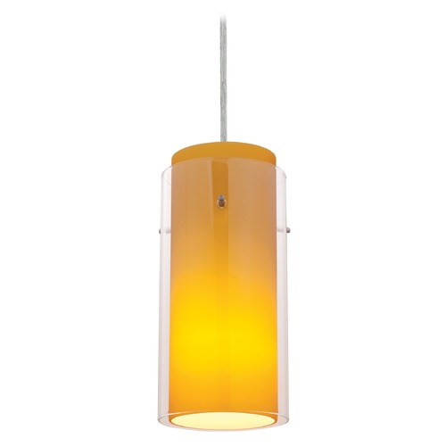 Access Lighting Modern Mini-Pendant Light with Amber Glass 28033-1C-BS/CLAM