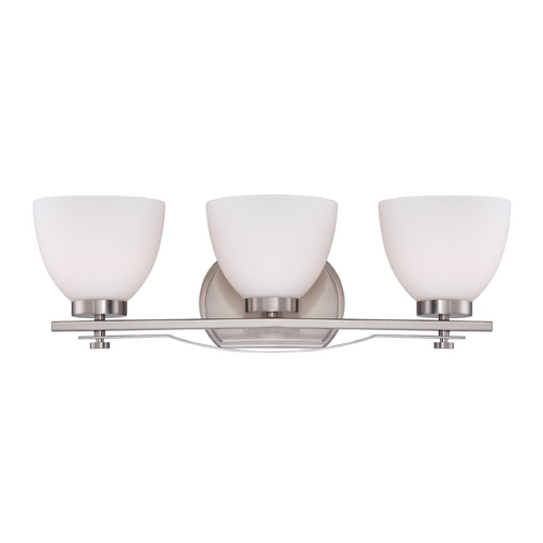 Nuvo Lighting Bathroom Light with White Glass in Brushed Nickel Finish 60/5013