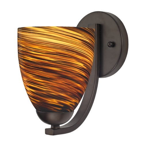 Design Classics Lighting Sconce with Brown Art Glass in Bronze Finish 585-220 GL1023MB