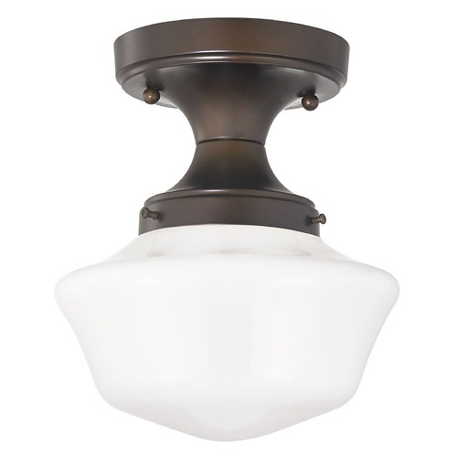 Design Classics Lighting 8-Inch Wide Bronze Vintage Style Schoolhouse Ceiling Light FDS-220 / GA8