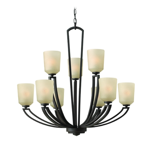 Hinkley Lighting Chandelier with Amber Glass in Buckeye Bronze Finish 4438KZ