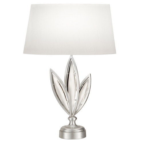 Fine Art Lamps Fine Art Lamps Marquise Platinized Silver Leaf Table Lamp with Oval Shade 854610-11ST