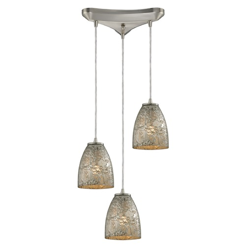 Elk Lighting Elk Lighting Fissure Satin Nickel Multi-Light Pendant with Bowl / Dome Shade 10465/3SVF