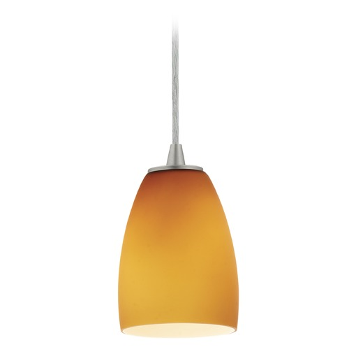 Access Lighting Access Lighting Sherry Brushed Steel Mini-Pendant Light with Bowl / Dome Shade 28069-3C-BS/AMB