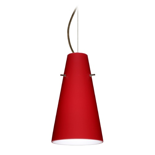 Besa Lighting Besa Lighting Cierro Bronze LED Mini-Pendant Light with Conical Shade 1KX-4124RM-LED-BR