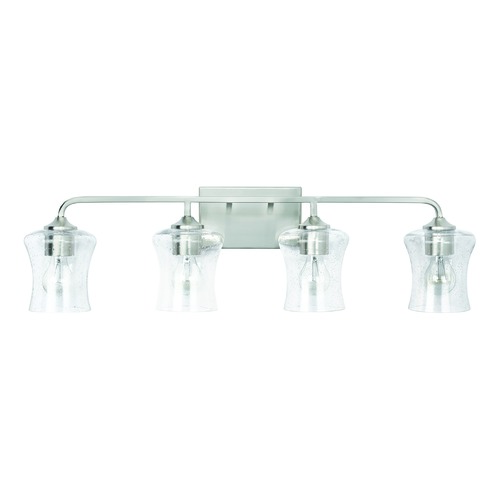 HomePlace by Capital Lighting HomePlace Reeves Brushed Nickel 4-Light Bathroom Light with Clear Seeded Glass 139241BN-499