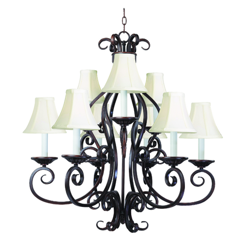 Maxim Lighting Chandelier with White Shades in Oil Rubbed Bronze Finish 12216OI/SHD123