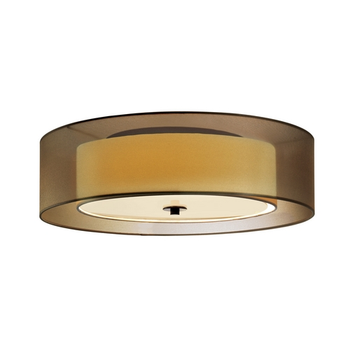 Sonneman Lighting Modern Flushmount Light with Brown Shades in Black Brass Finish 6014.51F