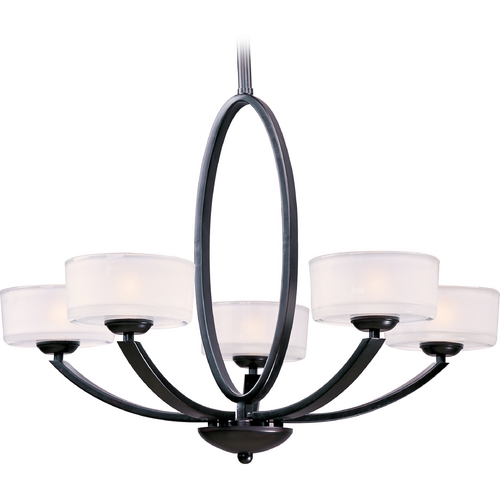 Maxim Lighting Modern Chandelier with White Glass in Oil Rubbed Bronze Finish 19045FTOI