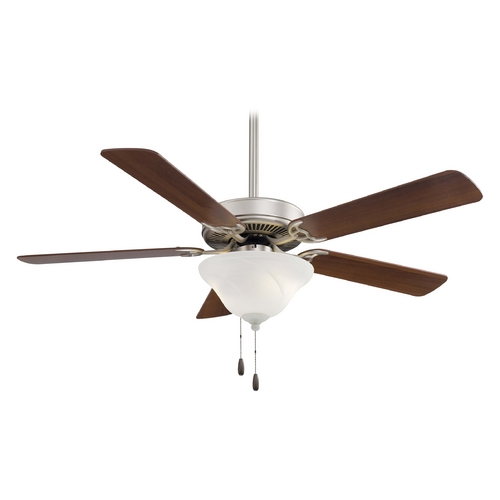 Minka Aire Ceiling Fan with Light with White Glass in Brushed Steel Finish F548-BS/DW
