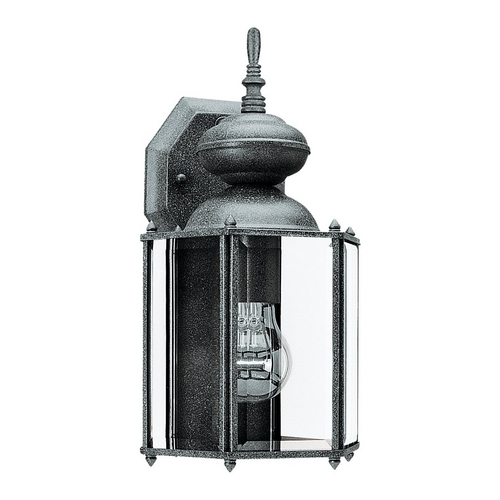 Sea Gull Lighting Outdoor Wall Light with Clear Glass in Black Finish 8509-12