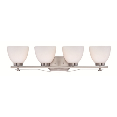 Nuvo Lighting Bathroom Light with White Glass in Brushed Nickel Finish 60/5019