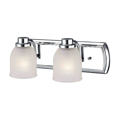 Design Classics Lighting 2-Light Bathroom Light with Frosted Prismatic Glass in Chrome Finish 1202-26 GL1058-FF