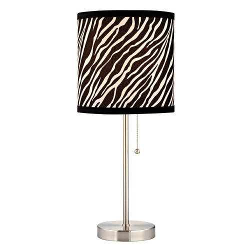 Design Classics Lighting Pull-Chain Table Lamp with Zebra Drum Shade 1900-09 SH9483