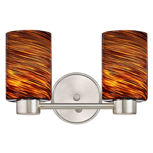 Design Classics Lighting Aon Fuse Art Glass Satin Nickel Bathroom Light with Cylinder Glass 1802-09 GL1023C