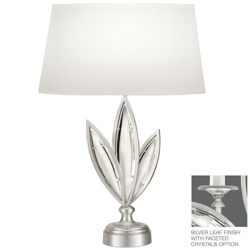 Fine Art Lamps Fine Art Lamps Marquise Platinized Silver Leaf Table Lamp with Oval Shade 854610-12ST