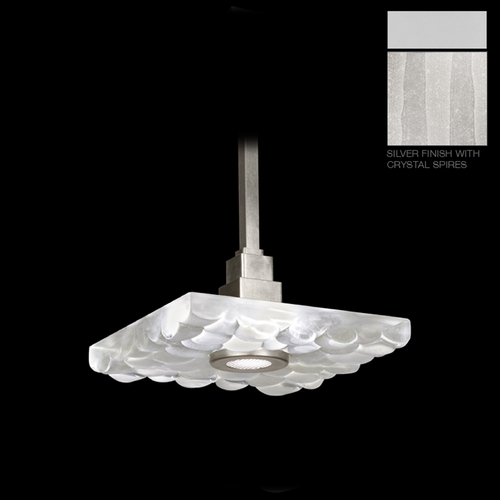 Fine Art Lamps Fine Art Lamps Crystal Bakehouse Silver Pendant Light with Square Shade 818840-23ST